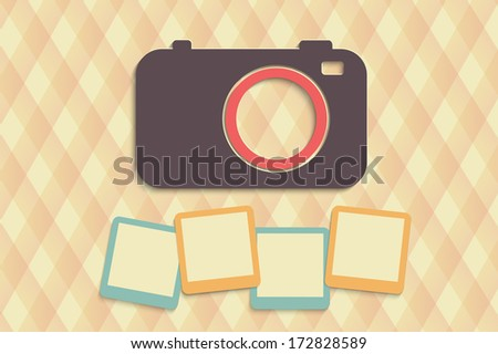 retro camera with photos on creative background - stock vector