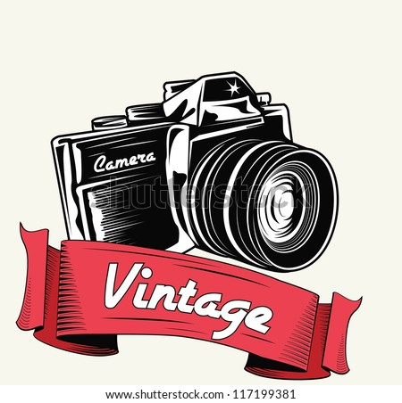 Retro camera with vignette - stock vector