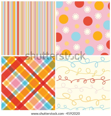 retro candy red pink pattern combo (vector) - illustrated pattern - stock vector