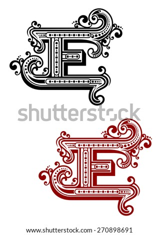 Retro capital alphabet letter E with curly vintage elements and decorations for monogram or emblem design - stock vector
