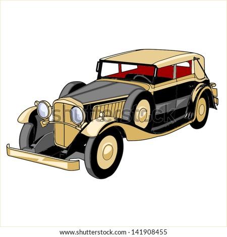 retro car black - stock vector