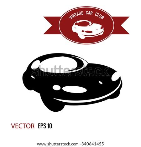 retro car black and white label - stock vector