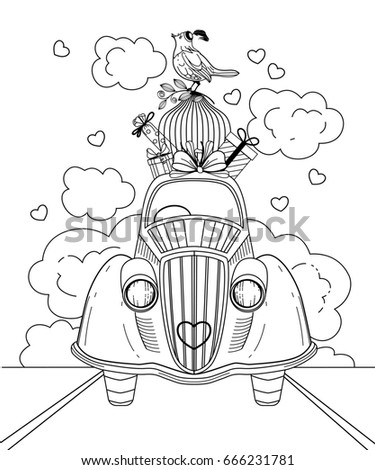 Retro Car Carrying Gifts A Bird Cage And Doodle Illustration Anti