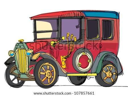 retro car - cartoon - stock vector