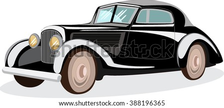 Retro car. Classic automobile. Very realistic vector illustration of a vintage car in retro colors
