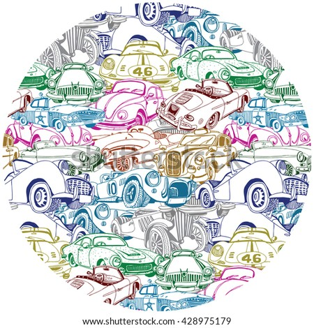 Retro Car Collage in the circle - stock vector