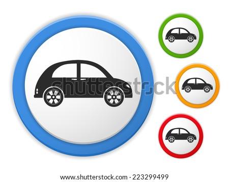 Retro car icon, four colors, vectpr eps10 illustration - stock vector