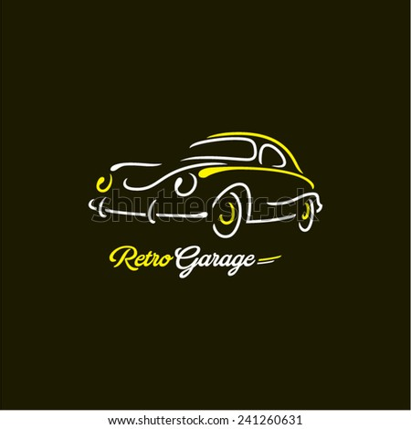 retro car lines - stock vector