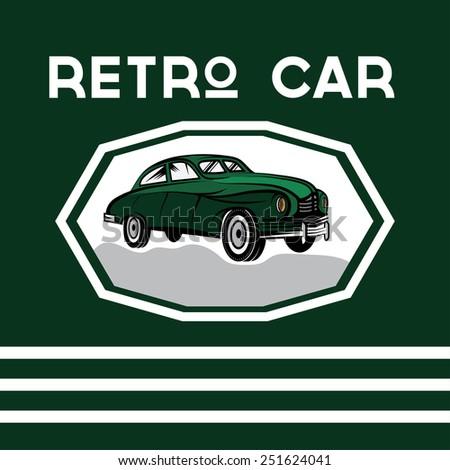 retro car old vintage poster - stock vector