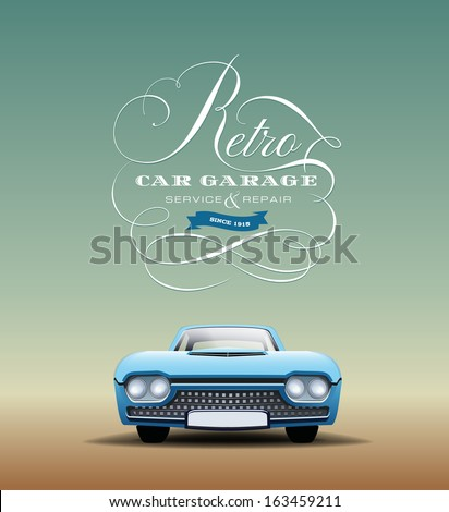 retro car poster - stock vector