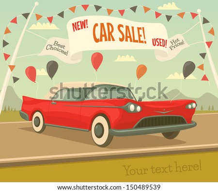 Retro car sale. Vector illustration.