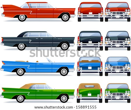 Retro Car (50th-60th). Pixel optimized. Elements are in the separate layers.  In the side, back and front views. - stock vector