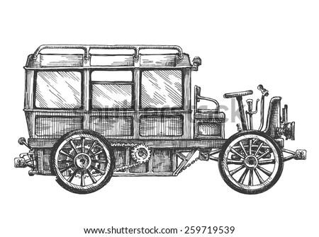 retro car vector logo design template. vehicle or bus icon. - stock vector