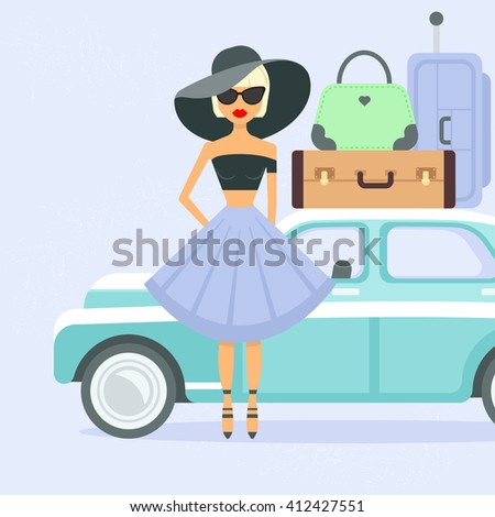 Retro car with suitcases and woman. Car carries a lot of baggage on a journey. Flat style vector illustration. Summer vacation. Female tourist. Girl in sunglasses going on vacation - stock vector