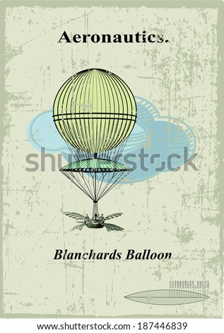 Retro card, Blanchards balloon in the clouds - stock vector
