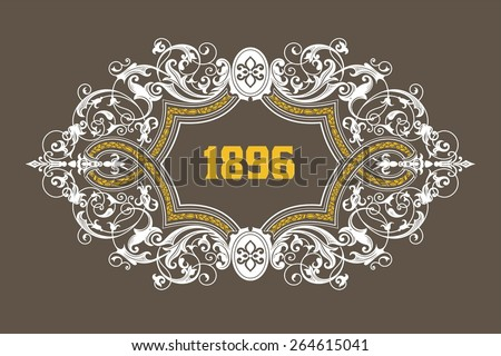 Retro card design with floral details. Organized by layers. - stock vector