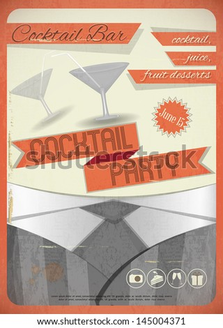 Retro card. Invitation to cocktail party in vintage grunge style. Vector illustration. - stock vector