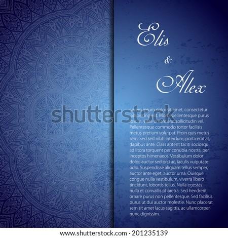 Retro card. Vector background. Card or invitation. Vintage decorative elements. Hand drawn background. Islam, Arabic, Indian, ottoman motifs. - stock vector