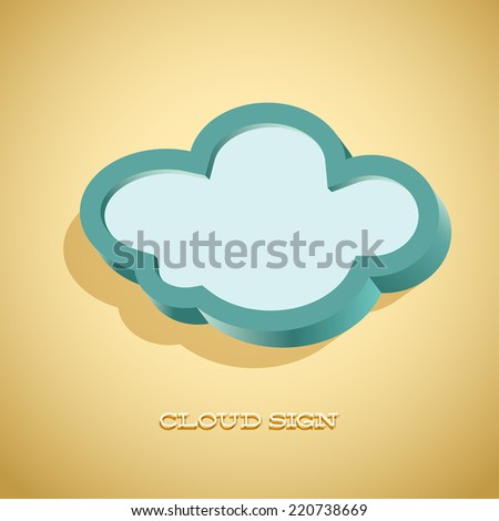 Retro card with cloud sign as text frame - stock vector