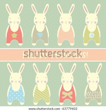 Retro card with rabbits - stock vector