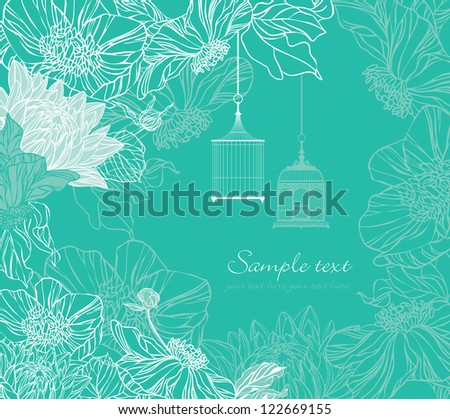 retro card with two birdcage and flowers - stock vector