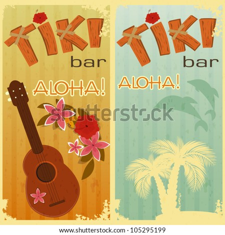 retro cards for Tiki bars, Hawaiian party, two postcards in vintage style with hand drawn text Aloha and Tiki - vector illustration - stock vector