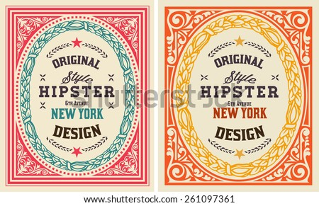 Retro cards set. Elements organized by layers. - stock vector