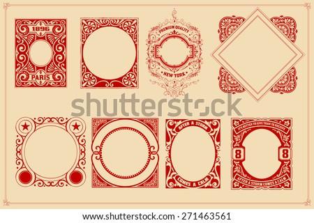 Retro cards templates set - stock vector