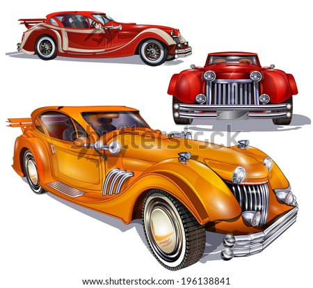 Retro cars - stock vector