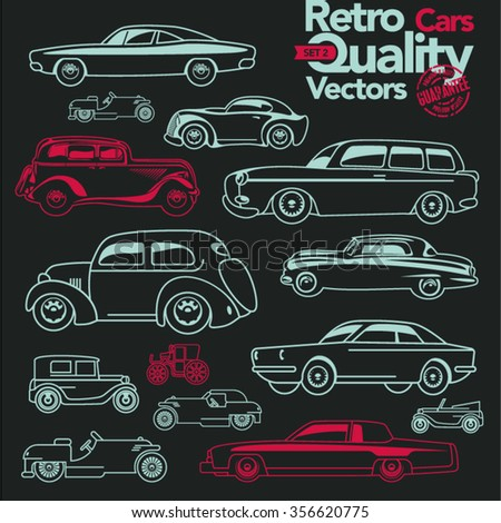 Retro cars outline icons set 2. Vintage linear cars.  - stock vector
