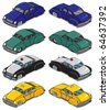 Retro Cars Part 2: Collection of 4 retro cars. Each shown in front and back. When you flip them horizontally you get each car in 4 directions. No transparency and gradients used. - stock vector