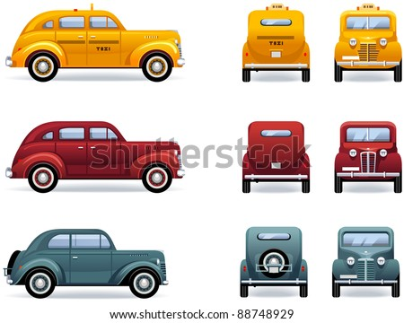 Retro cars (1930-40th). Set of the car icons in vector. The shadows are in the separate layer.