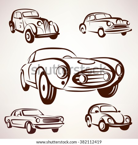 retro cars vector collection deign elements fro labels and emblems - stock vector