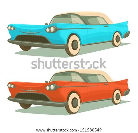 Retro cars. Vector illustration. - stock vector