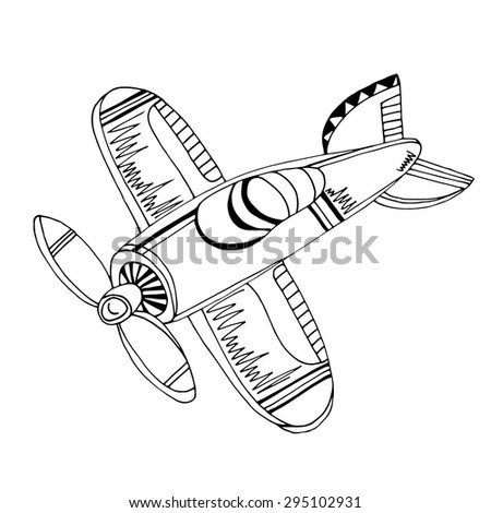 Retro cartoon airplane. Vector illustration.