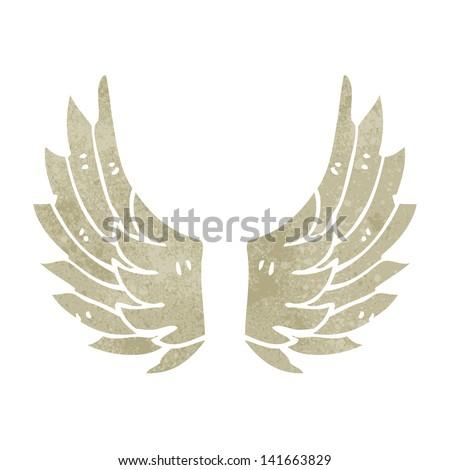retro cartoon angel wings - stock vector