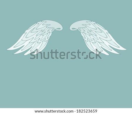 retro cartoon angel wings, vector wings illustration - stock vector