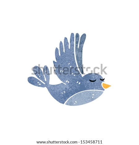 retro cartoon bird flying - stock vector