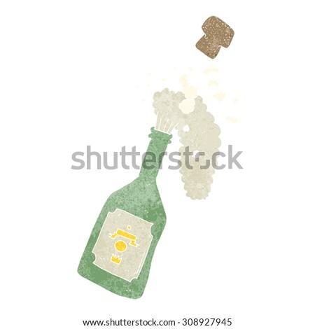 retro cartoon champagne popping - stock vector