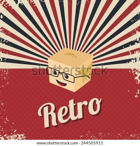 retro cartoon character head - stock vector
