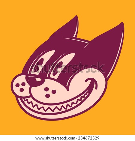 Retro cartoon character smiling cat, grinning face, vintage 50s toons style - stock vector
