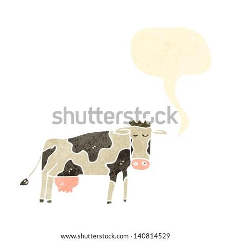 retro cartoon cow - stock vector