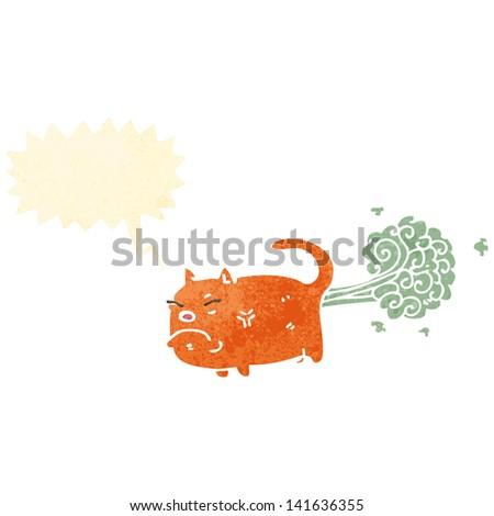 retro cartoon farting cat - stock vector
