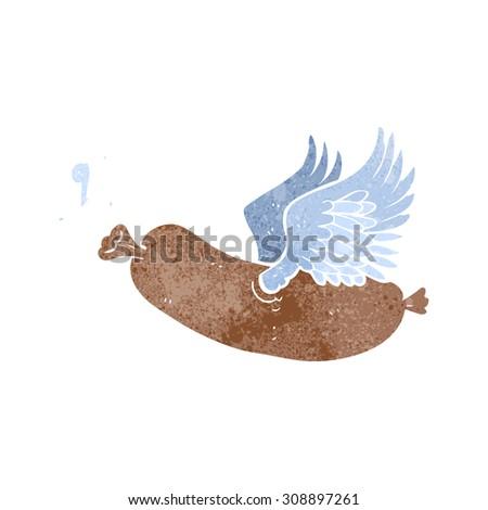 retro cartoon flying sausage - stock vector