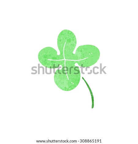retro cartoon four leaf clover - stock vector