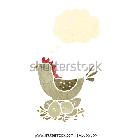 retro cartoon hen on nest of eggs - stock vector