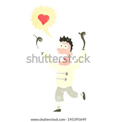 retro cartoon man crazy in love - stock vector