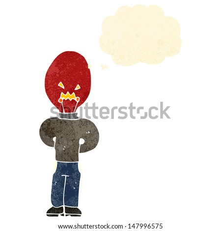 retro cartoon man with red light bulb head and thought bubble - stock vector