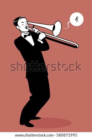 Cartoon Trombone Trombonist Stoc...