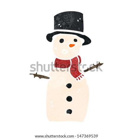 retro cartoon snowman - stock vector